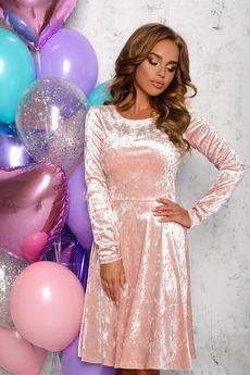 Розовое бархатное платье Open-Style со скидкой
