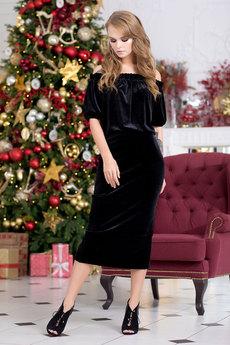 Черное бархатное платье RUXARA