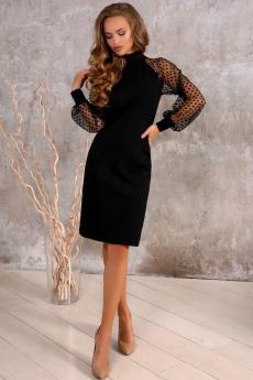 Черное платье с рукавами в сетку Open Style
