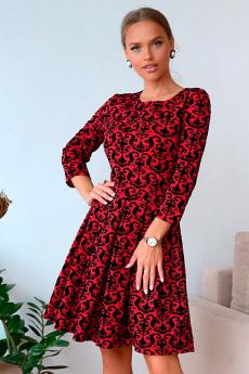 Красное жаккардовое платье Open Style